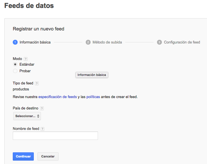 Feed de productos con Google Docs
