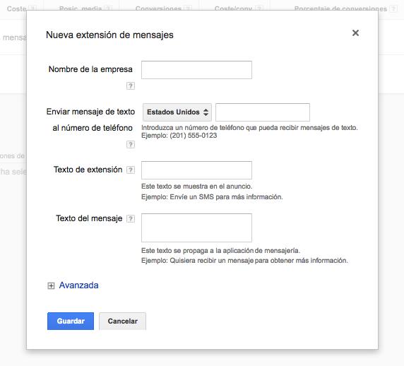 extensiones de SMS Google