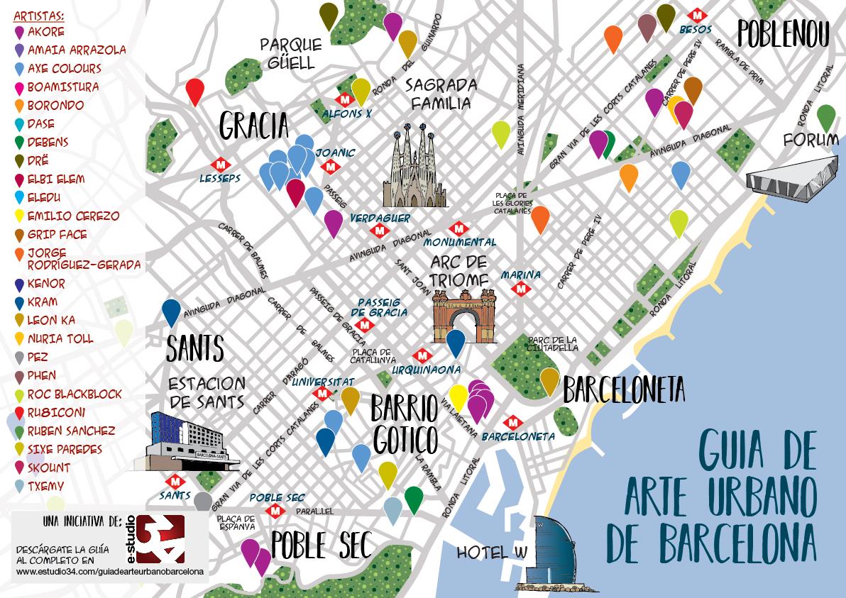Mapa arte urbano Bcn