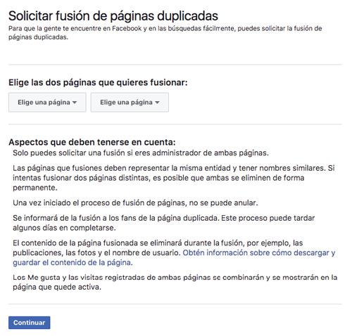 Fusionar Páginas de Facebook 01