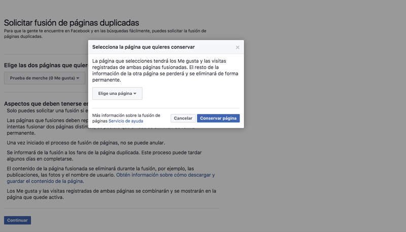 Fusionar Páginas de Facebook 02