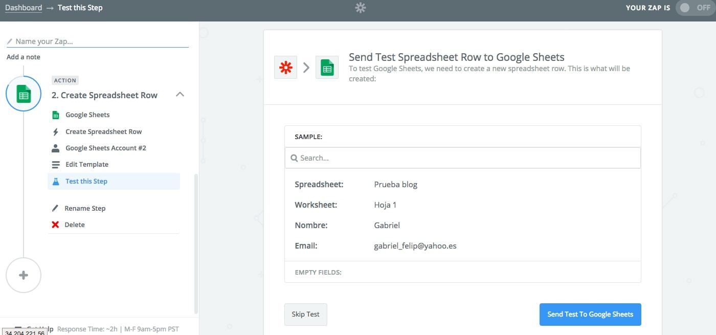Integrar Unbounce con Google Sheets 11