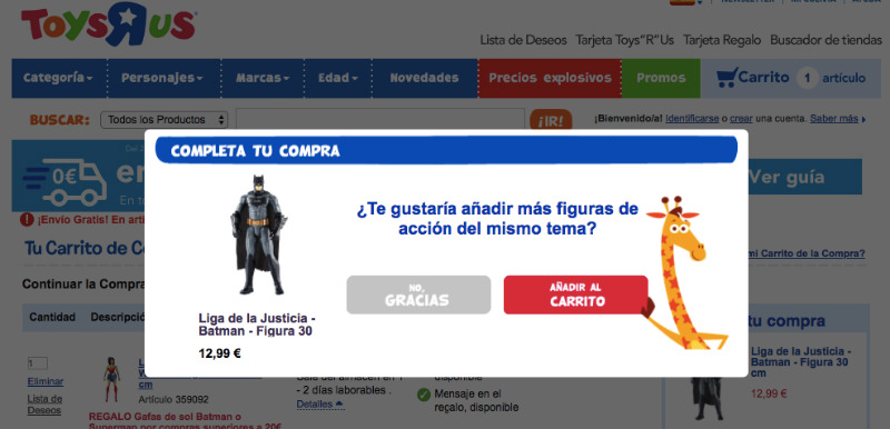Analisis de usabilidad Toysrus pop up batman
