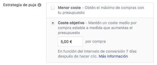 Facebook Ads Coste Objetivo