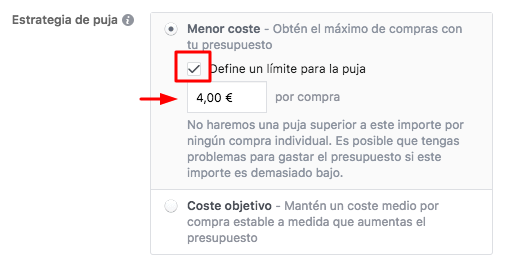 Facebook Ads - Menor Coste Limite