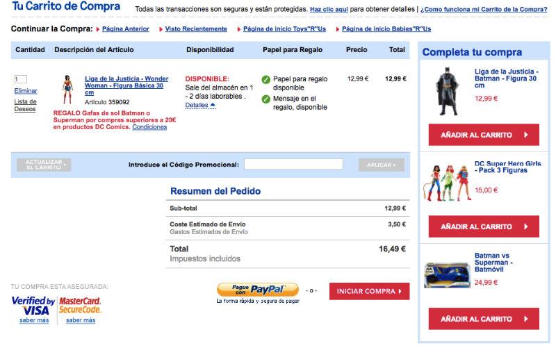 Analisis de usabilidad toysrus carrito compra
