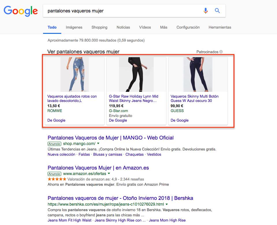 Google Shopping: resultados de google shopping para la búsqueda pantalones vaqueros mujer