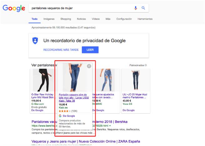 Google Shopping: ejemplo de descripción en la tarjeta de producto de google shopping