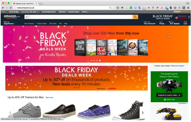 Google Shopping: banner de black friday específico en la página de amazon