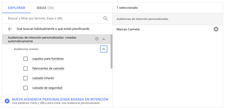 Audiencias de intencion generadas automaticamente google ads