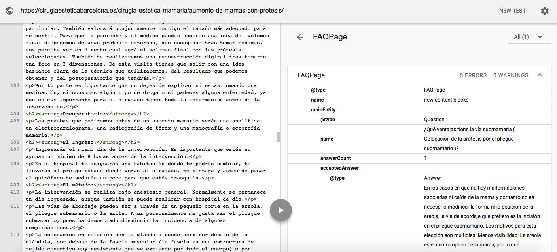 Datos estructurados: check etiquetado con google