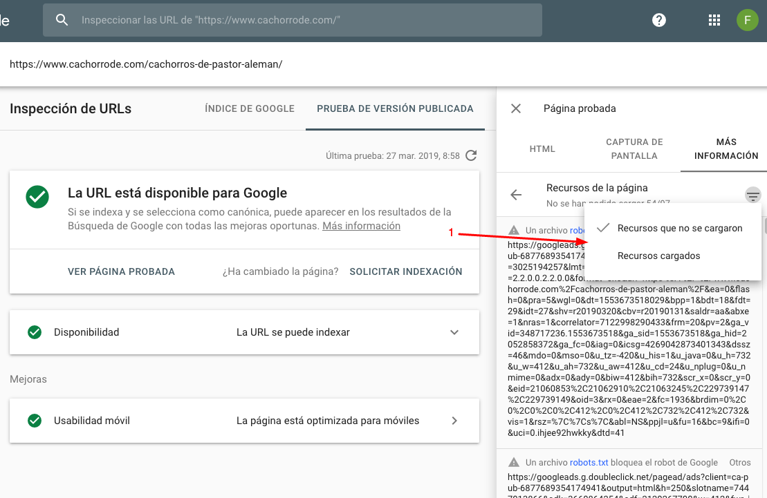 seo, google y javascript: search console 2