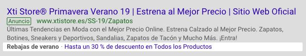Anuncio de rebajas en Google Ads - estudio34