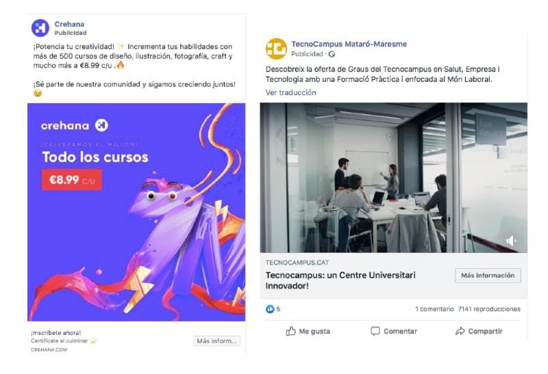Campañas online formación: ejemplo crehana y tecnocampus
