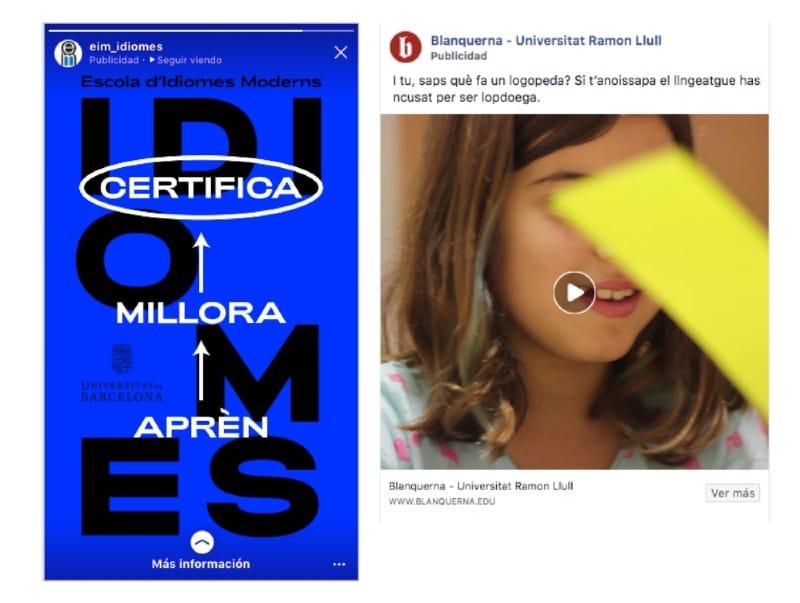 Campañas online formación: ejemplo UB EIM y Blanquerna