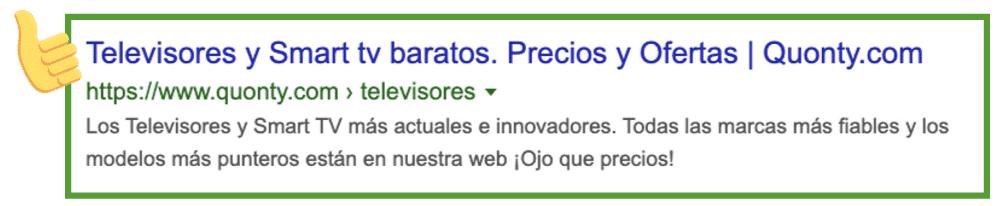 Contenido SEO: ejemplo quonty search snippet