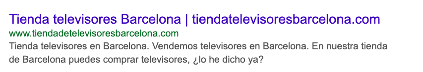 Contenido SEO: ejemplo televisores barcelona